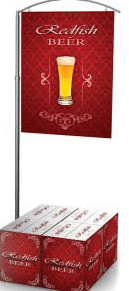 T Type Double Sided Adjustable Steel Banner Display With Square Base