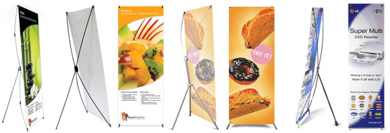 x type banner stands