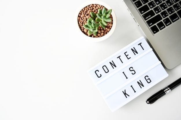 Content is king business flat lay, minimal style